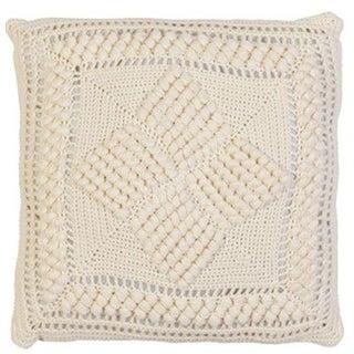 Modern Ivory White Crochet Throw Pillow
