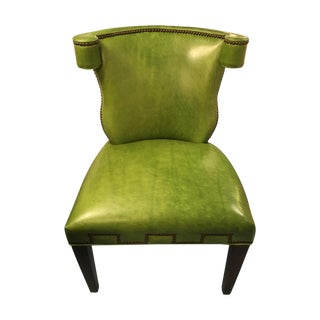 CR Laine Green Leather Desk Chair