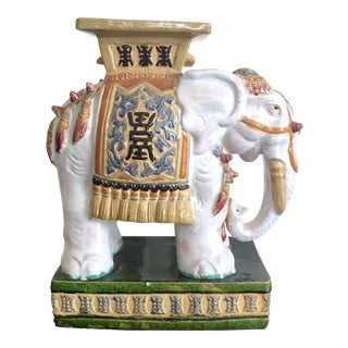 Vintage Colorful Ceramic Elephant Garden Stool