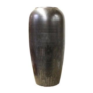 Ceramic Metallic Black Glaze Tall Slim Vase Jar cs2620