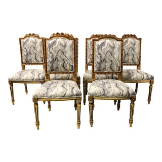Set of 6 Gilded French Dining Chairs
