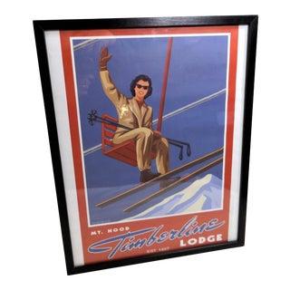 Mid-Century Girl on Ski Lift Framed Poster