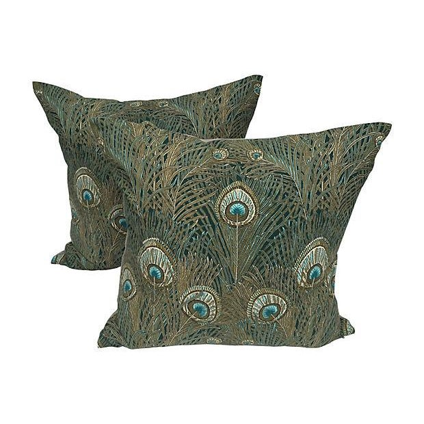 Liberty of London Peacock Pillows - Pair - Image 3 of 6