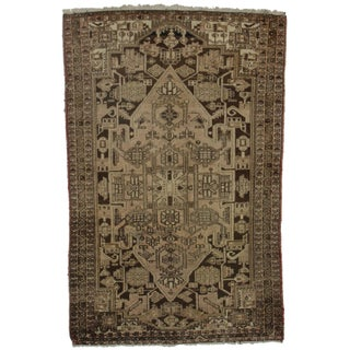 Hand-Knotted Wool Persian Hamedan - 4′2″ × 6′6″