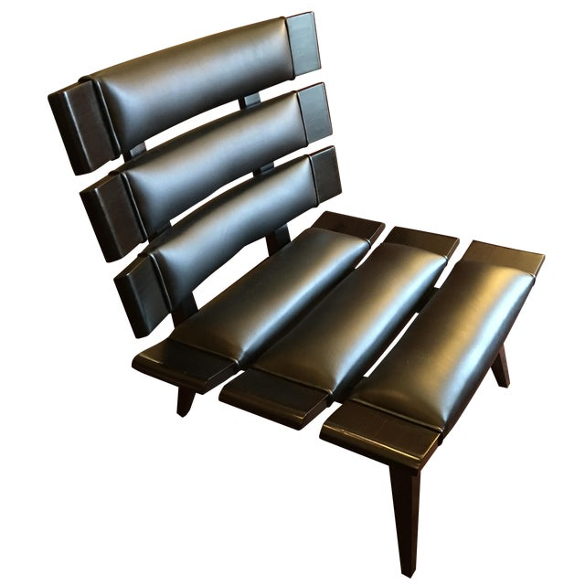 Arteriors Wood & Leather Slatted Chair - Image 1 of 6