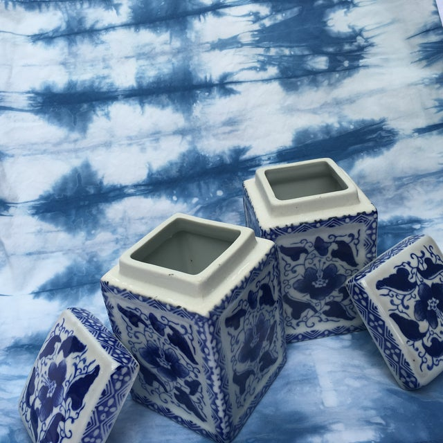 Vintage Chinoiserie Square Ginger Jar - Pair - Image 4 of 7