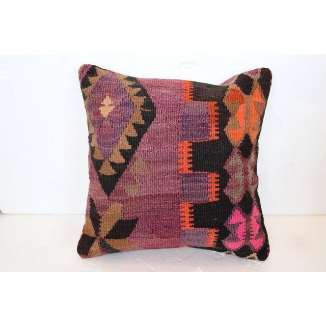 Image of Purple Turkish Kilim Cushions - Pair