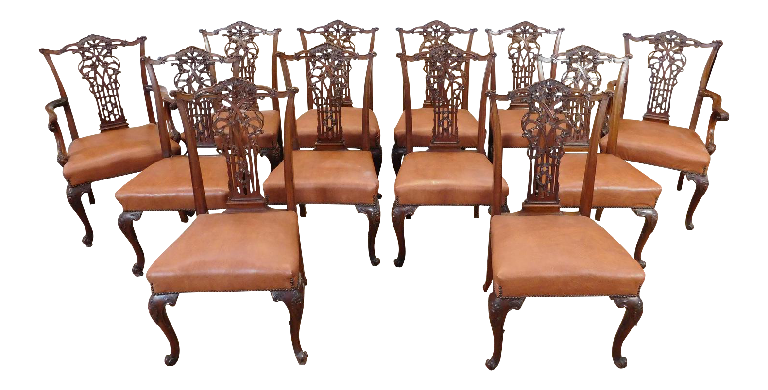C. 1930s Chippendale Style Mahogany Dining Chairs   Set Of 12