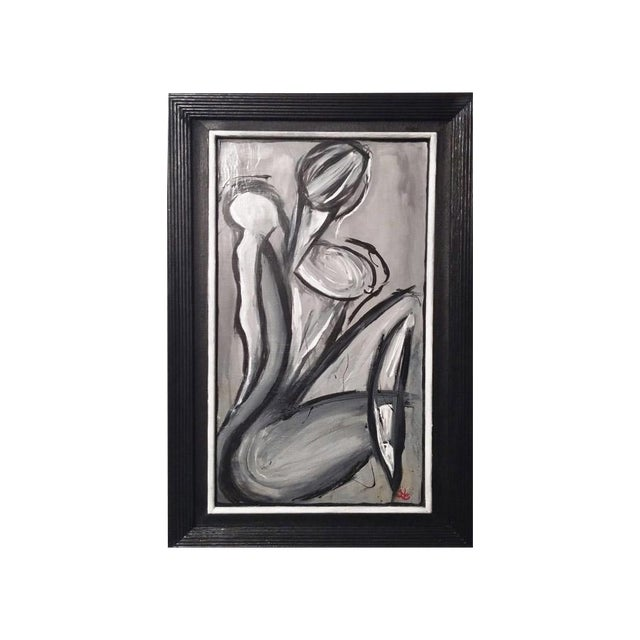 Sold*.Black & Gray Abstract Female Figure Painting - Image 1 of 3