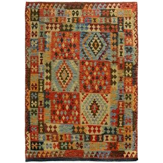 Kilim Arya Bryce Brown & Red Wool Rug - 5'0 X 6'6