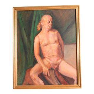 Vintage Male Nude Oil Painting on Canvas