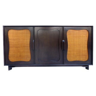 Lacquered 50's Credenza With Woven Cane Doors