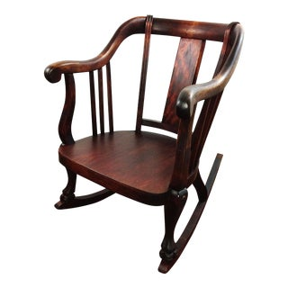 Antique Empire Barrel Back Claw Foot Mahogany Rocking Chair