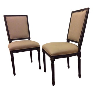 Horchow Wood Upholstered Dining Chairs - A Pair