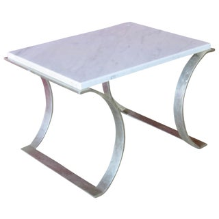 Modern Silver Base & Marble Top Side Table