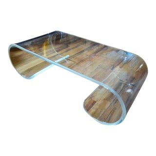 Large Exceptional Scroll Lucite Coffee Table