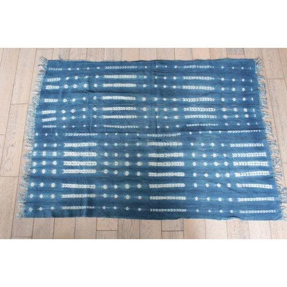 African Mud Cloth Indigo Shibori Throw Blanket - Image 2 of 6