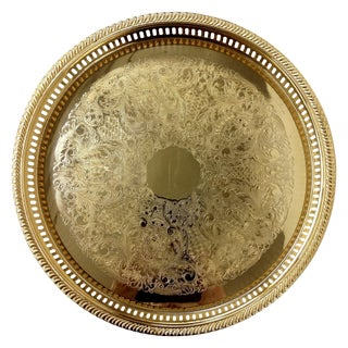 24k Gold Plated Carved Serving Tray