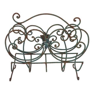 Distressed Patio Iron Magazine Rack
