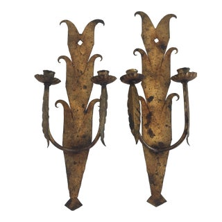 Mid-Century Iron Gilded Sconces - A Pair