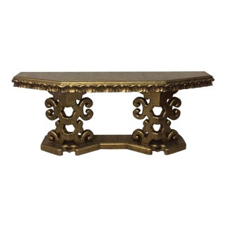 Gold Leaf Carved Wood Console Table