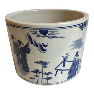 Blue & White Brush Pot With Figural Motif