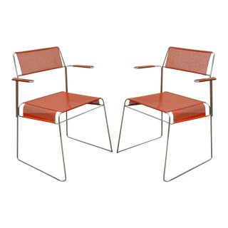 Vintage Tomado Mid-Century Modern Stacking Chrome Metal Mesh Arm Chairs - a Pair