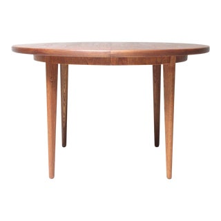 Round Danish Modern Teak Extension Dining Table