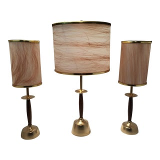 Mid-Century Gold and Wood Lamps With Fiberglass Shades - Set of 3