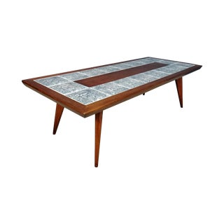 Mid-Century Coffee Table with Aztec Pattern Tiles