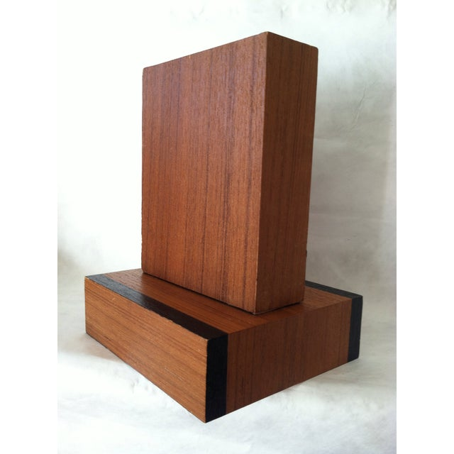 Image of Modern Walnut Laminate Bookends - Pair