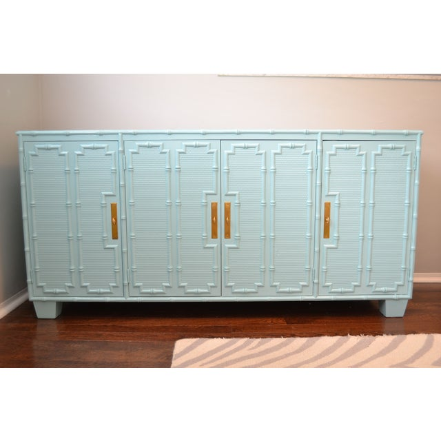 Image of Faux Bamboo Light Blue Credenza