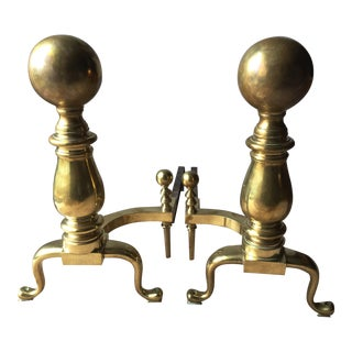 "Antique 22"" Ball Top Brass Andirons - a Pair"