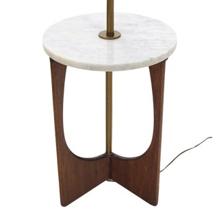 Walnut Base Marble-Top Table Lamp