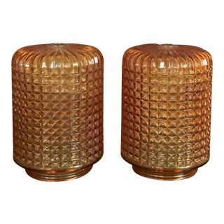 1970's Amber Cross Hatched Glass Lamp Shades - A Pair