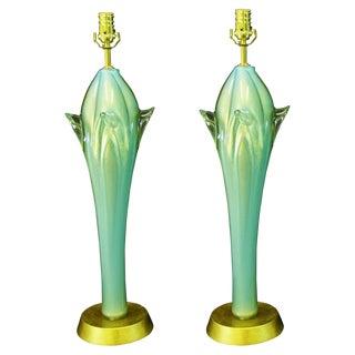 Aquamarine Murano Glass Table Lamps Italian Venetian Mid-Century Modern MCM Blue Green Italy- a Pair