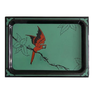 Art Deco Red Macaw Enameled Tray