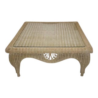 Vintage Glass Top Wicker Coffee Table
