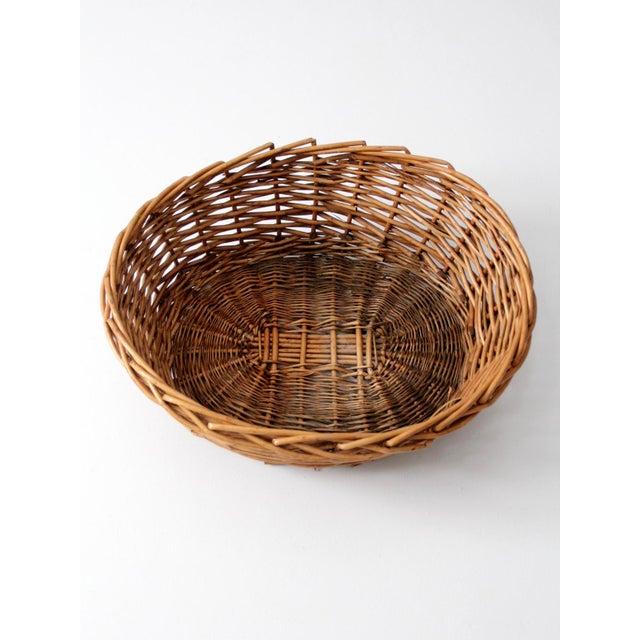 Vintage Oval Woven Reed Basket - Image 4 of 6