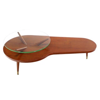 Mid-Century Modern Walnut Organic Kidney Shape Coffee Table with Glass Top