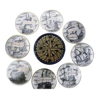 Set of Piero Fornasetti Velieri Tallship Porcelain Coasters with Original Box