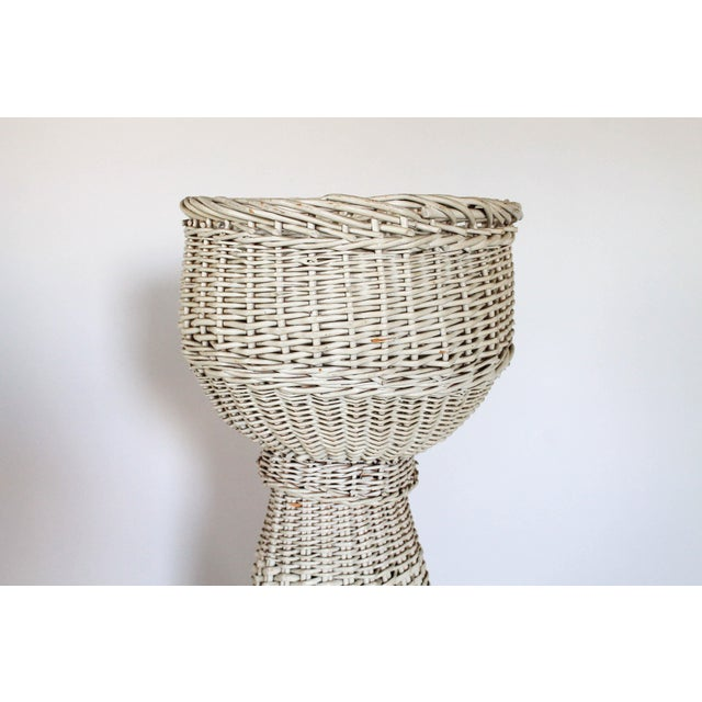 White Wicker Plant Stand - Image 3 of 6