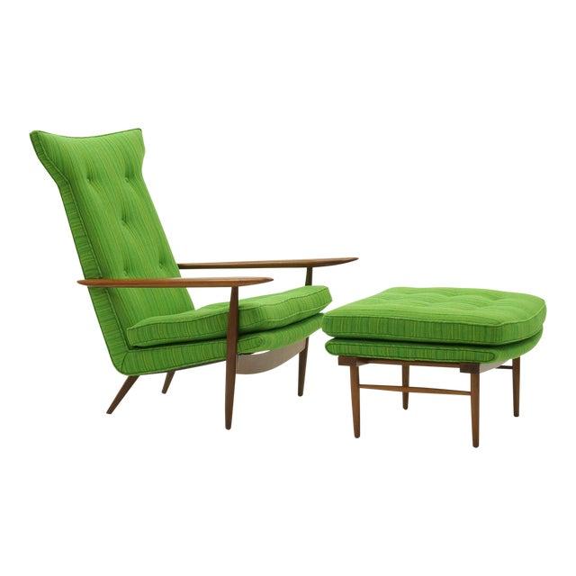 Rare George Nakashima for Widdicomb High Back Lounge Chair and Ottoman - Image 1 of 11