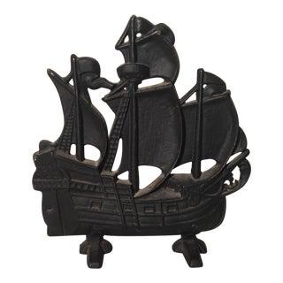 Cast Iron Pirate Ship Doorstop