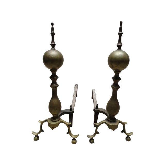 Antique American Brass & Iron Andirons - A Pair - Image 1 of 7