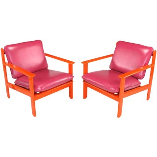 Pair of Italian Persimmon and Magenta Lounge Chairs