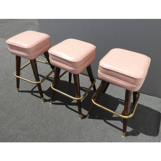 Retro Pink Vinyl Bar Stools - Set of 3 - Image 5 of 11