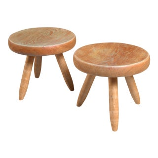 Charlotte Perriand pair of ash stools, France, 1950s