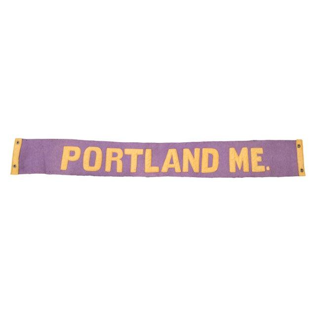 Vintage 1930s Portland Maine Felt Flag Banner - Image 1 of 2