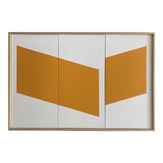 """Jason Trotter Original Acrylic Painting """"Yellow Disjointed Triptych JET0485"""""""